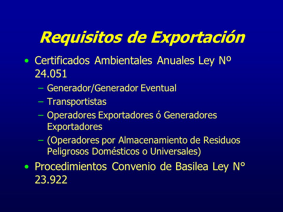 Requisitos de Exportación