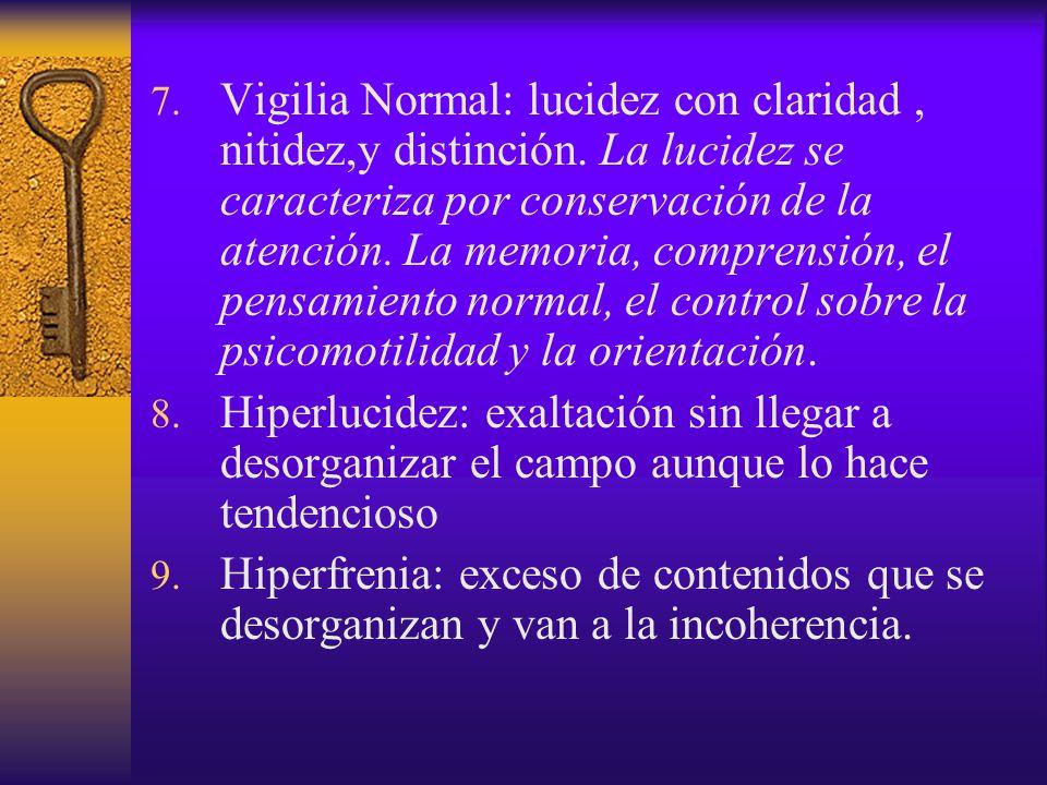 Vigilia Normal: lucidez con claridad , nitidez,y distinción
