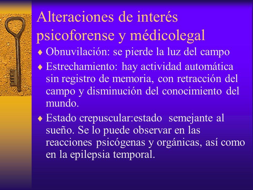 Alteraciones de interés psicoforense y médicolegal