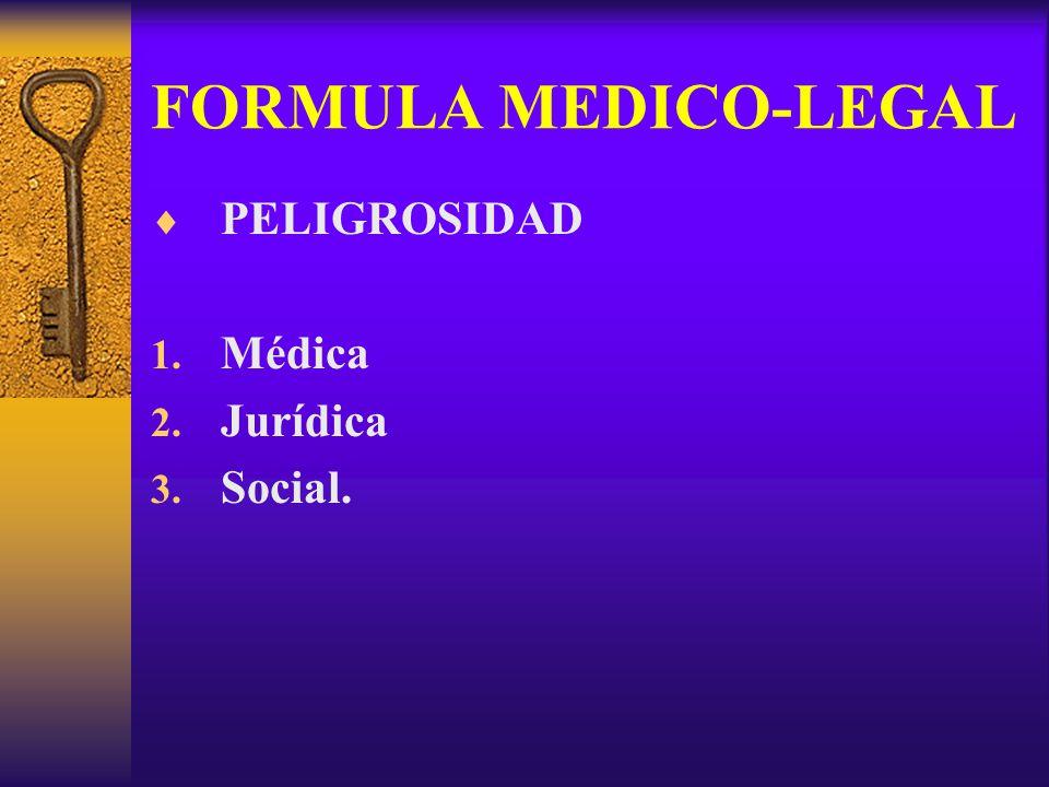 FORMULA MEDICO-LEGAL PELIGROSIDAD Médica Jurídica Social.