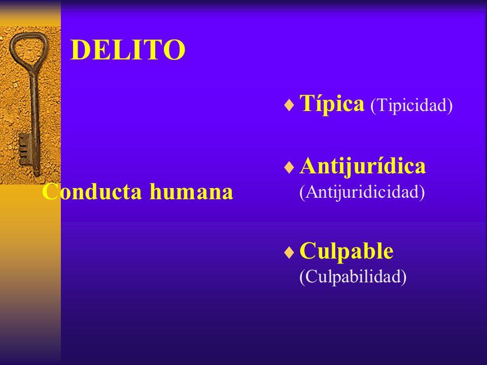 DELITO Típica (Tipicidad) Antijurídica (Antijuridicidad)