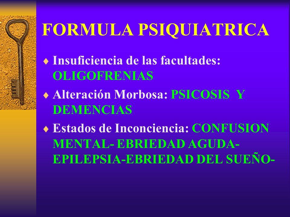 FORMULA PSIQUIATRICA Insuficiencia de las facultades: OLIGOFRENIAS