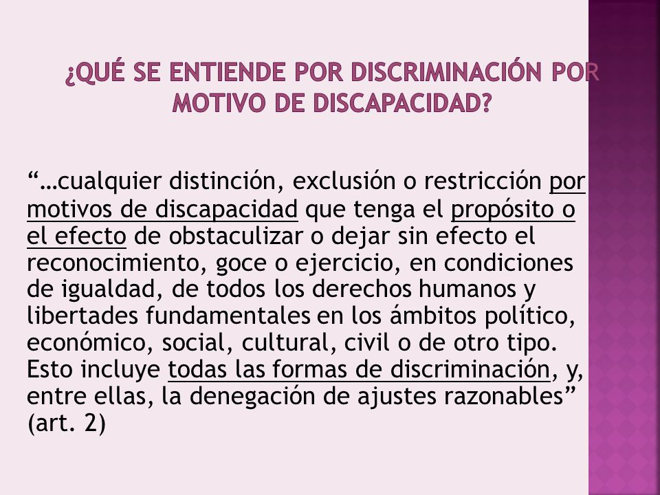 ¿Qué se entiende por discriminación por motivo de discapacidad