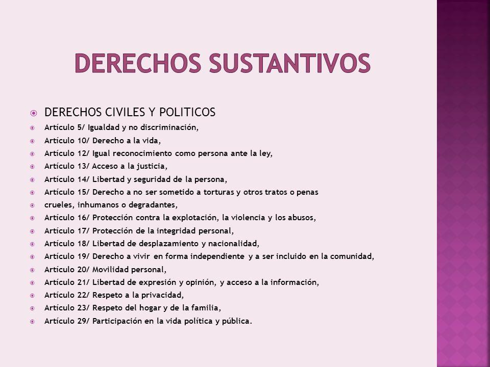 Derechos sustantivos DERECHOS CIVILES Y POLITICOS