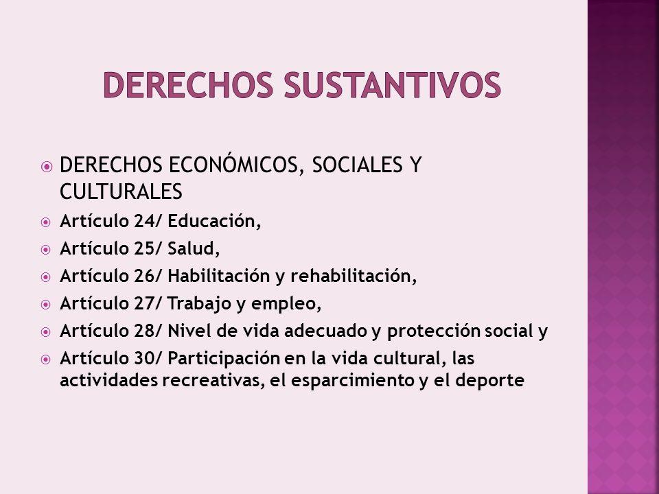 Derechos sustantivos DERECHOS ECONÓMICOS, SOCIALES Y CULTURALES