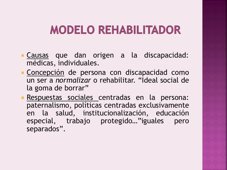 Modelo rehabilitador Causas que dan origen a la discapacidad: médicas, individuales.