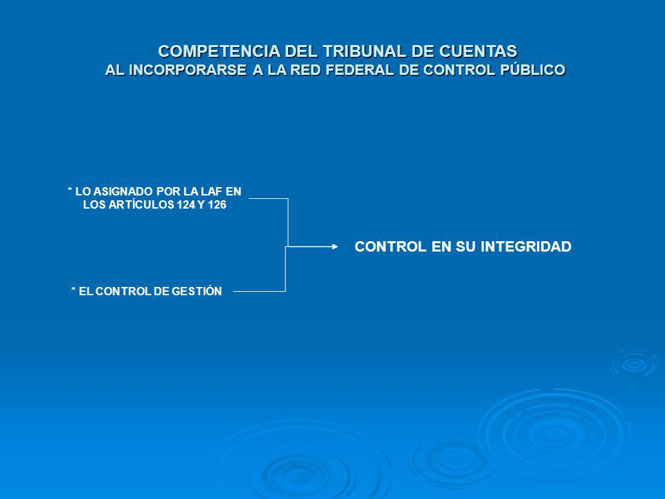 COMPETENCIA DEL TRIBUNAL DE CUENTAS AL INCORPORARSE A LA RED FEDERAL DE CONTROL PÚBLICO