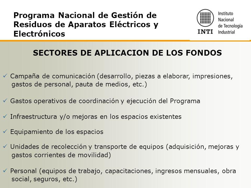 SECTORES DE APLICACION DE LOS FONDOS