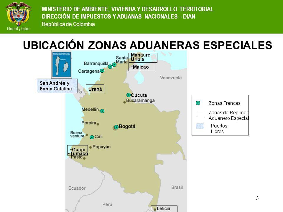 UBICACIÓN ZONAS ADUANERAS ESPECIALES