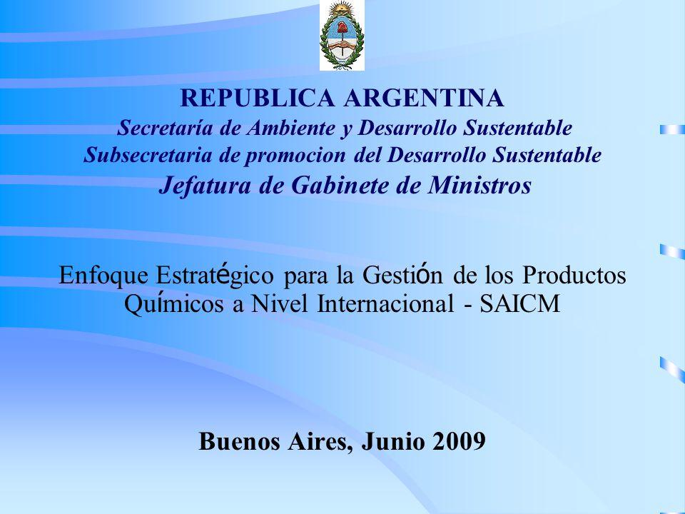REPUBLICA ARGENTINA Secretaría de Ambiente y Desarrollo Sustentable Subsecretaria de promocion del Desarrollo Sustentable Jefatura de Gabinete de Ministros