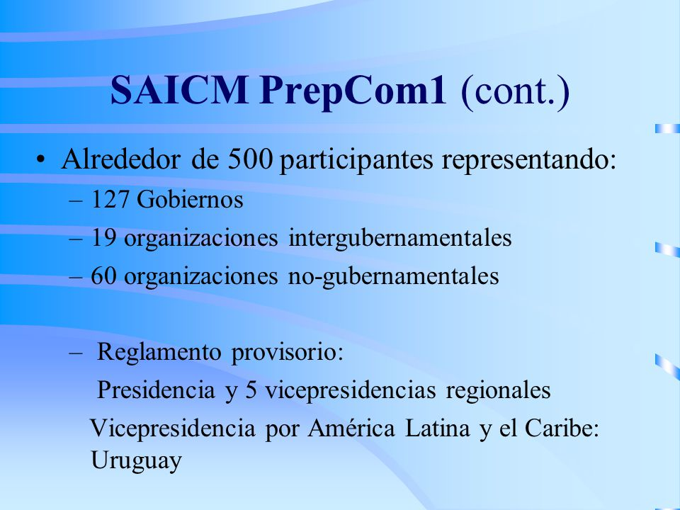 SAICM PrepCom1 (cont.) Alrededor de 500 participantes representando: