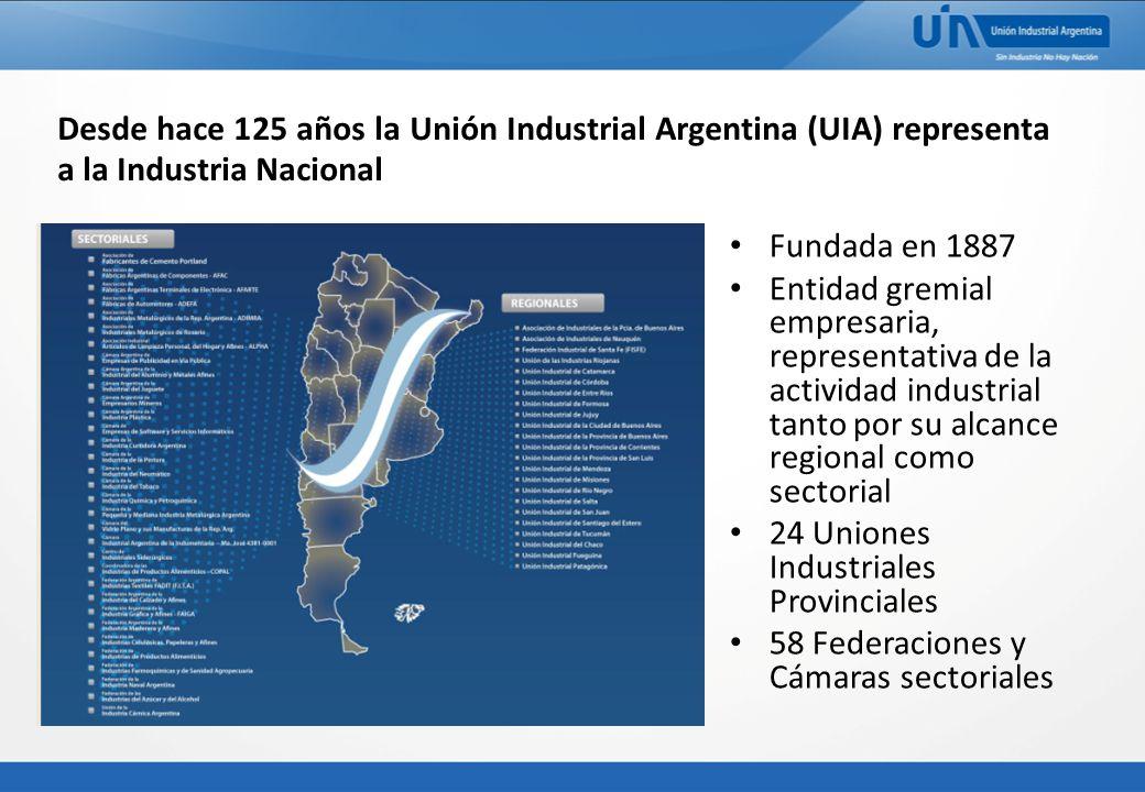 Desde hace 125 años la Unión Industrial Argentina (UIA) representa a la Industria Nacional