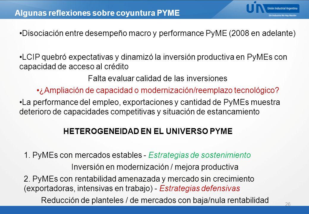 HETEROGENEIDAD EN EL UNIVERSO PYME