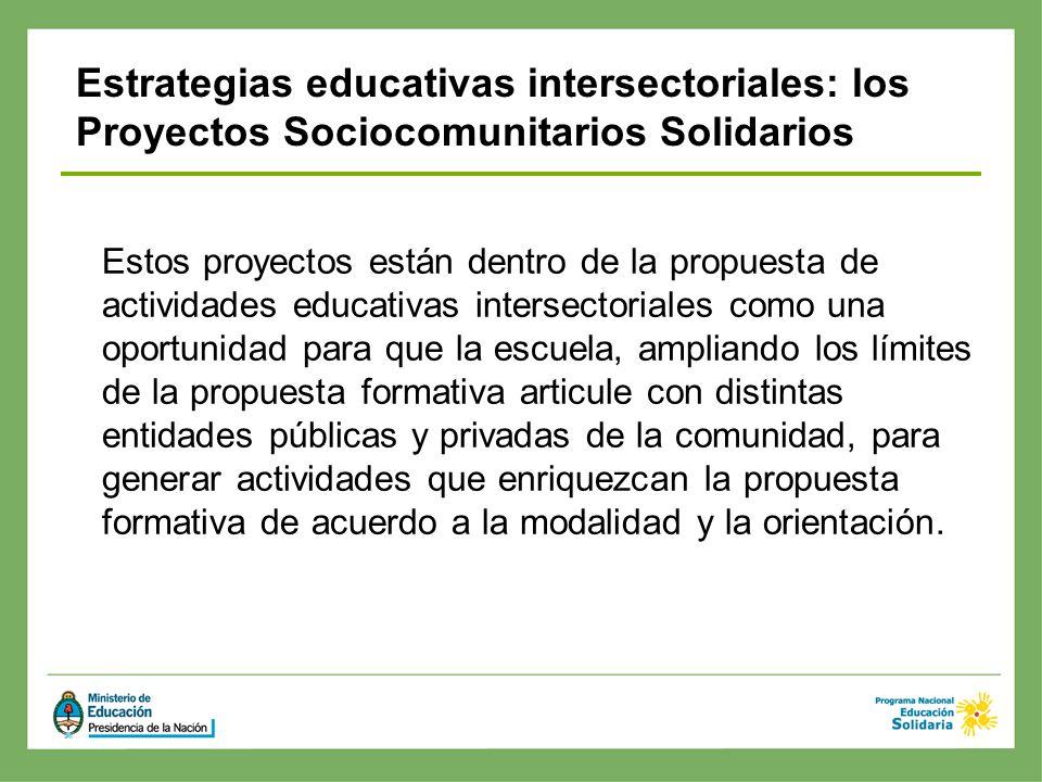 Estrategias educativas intersectoriales: los Proyectos Sociocomunitarios Solidarios