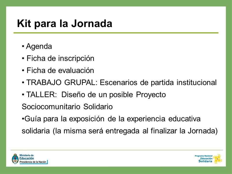 Kit para la Jornada Agenda Ficha de inscripción Ficha de evaluación