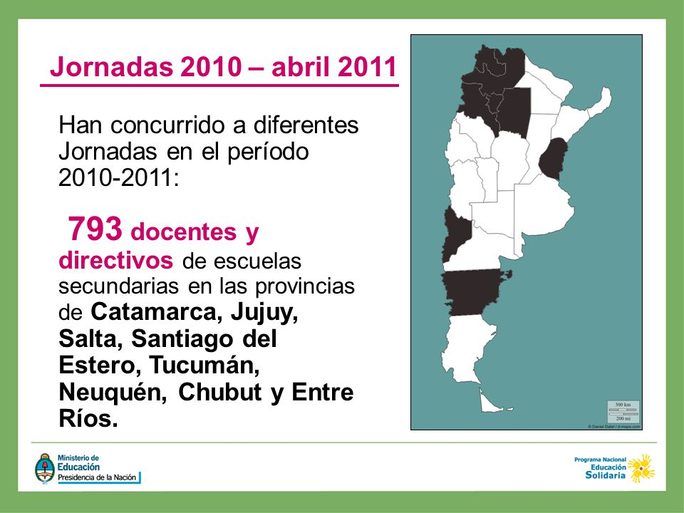 Jornadas 2010 – abril 2011 Han concurrido a diferentes Jornadas en el período 2010-2011: