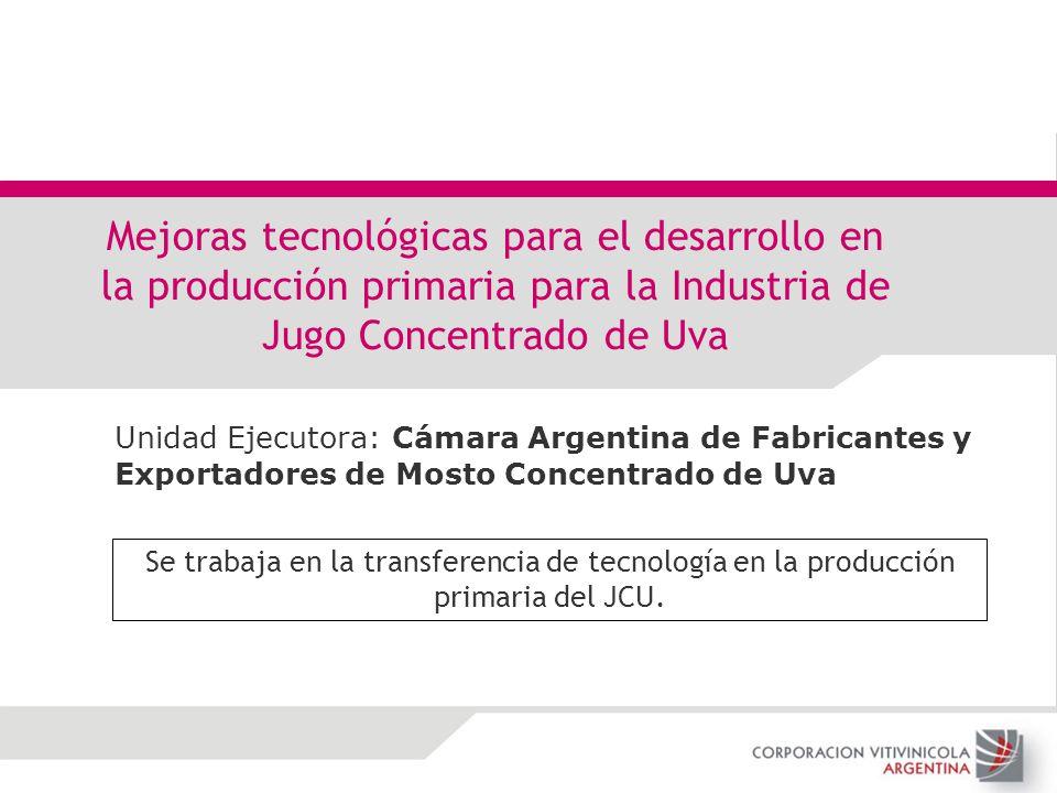Mejoras tecnológicas para el desarrollo en la producción primaria para la Industria de Jugo Concentrado de Uva