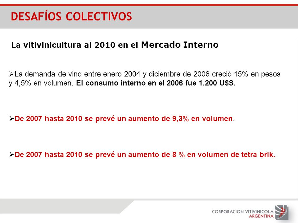 DESAFÍOS COLECTIVOS La vitivinicultura al 2010 en el Mercado Interno