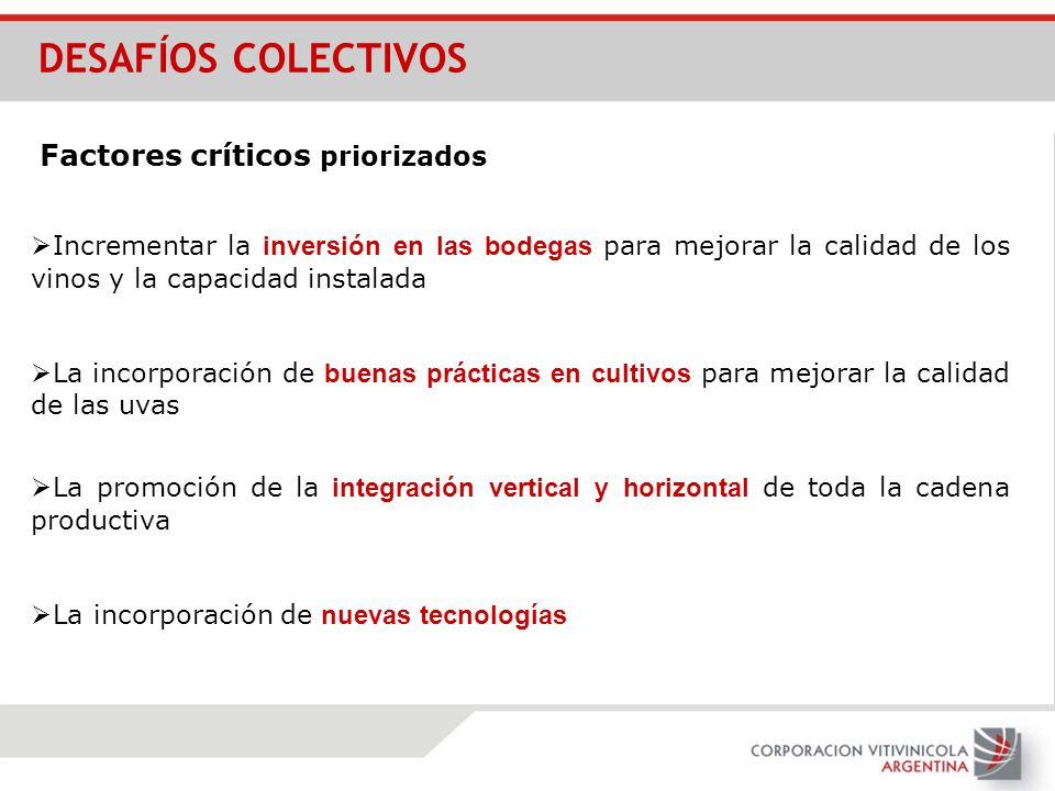 DESAFÍOS COLECTIVOS Factores críticos priorizados