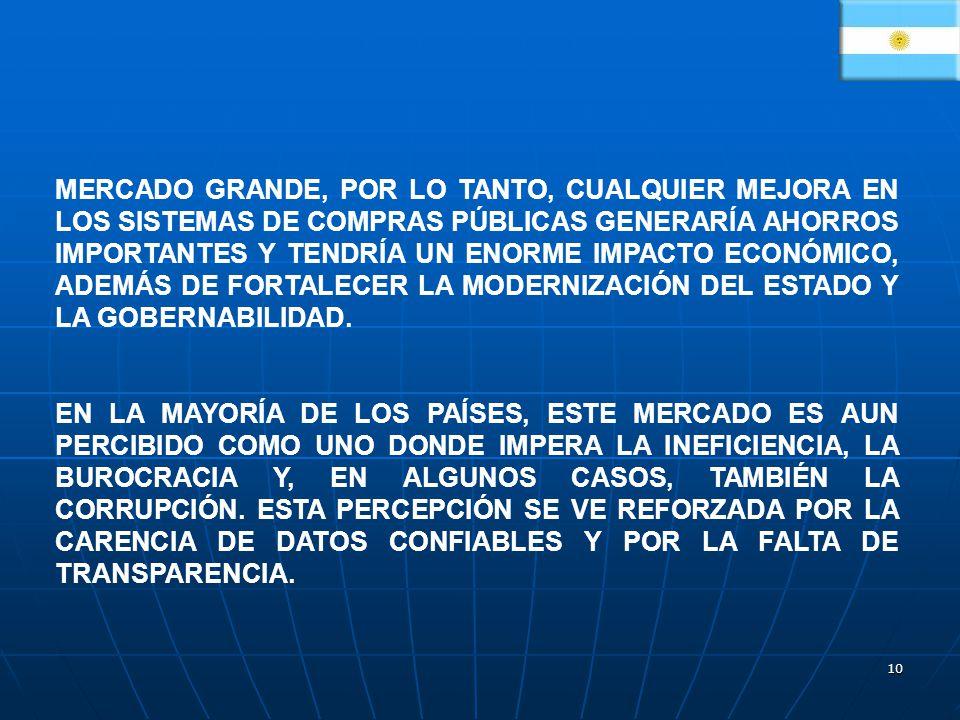 MERCADO GRANDE, POR LO TANTO, CUALQUIER MEJORA EN LOS SISTEMAS DE COMPRAS PÚBLICAS GENERARÍA AHORROS IMPORTANTES Y TENDRÍA UN ENORME IMPACTO ECONÓMICO, ADEMÁS DE FORTALECER LA MODERNIZACIÓN DEL ESTADO Y LA GOBERNABILIDAD.