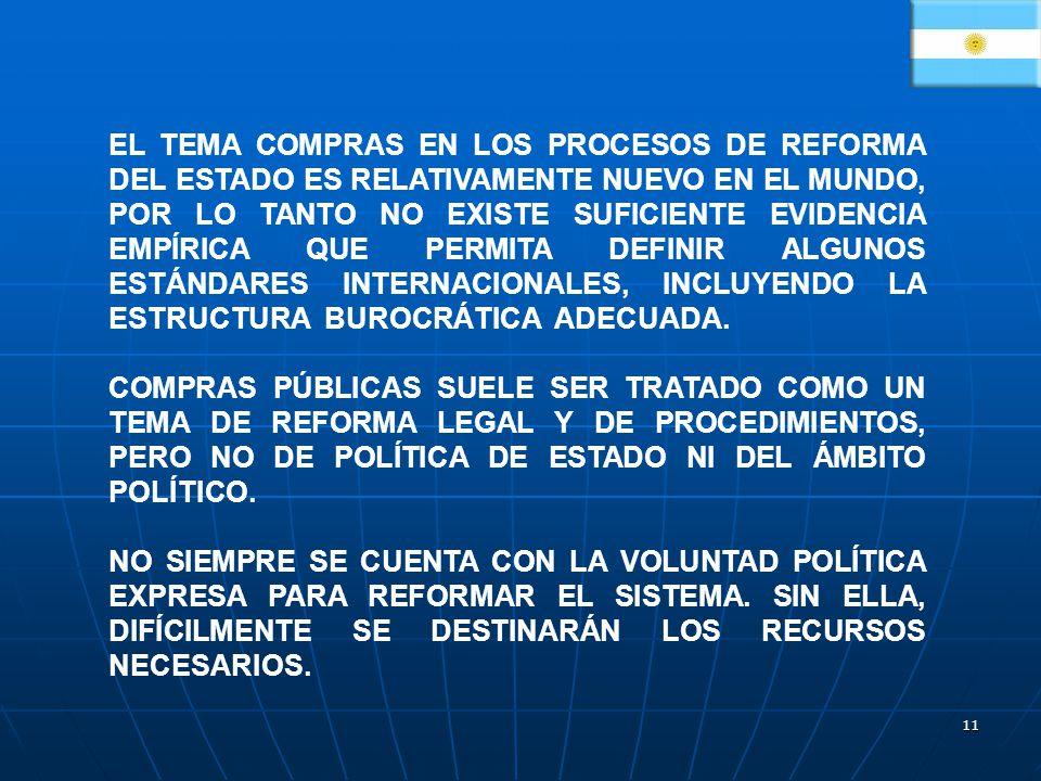 EL TEMA COMPRAS EN LOS PROCESOS DE REFORMA DEL ESTADO ES RELATIVAMENTE NUEVO EN EL MUNDO, POR LO TANTO NO EXISTE SUFICIENTE EVIDENCIA EMPÍRICA QUE PERMITA DEFINIR ALGUNOS ESTÁNDARES INTERNACIONALES, INCLUYENDO LA ESTRUCTURA BUROCRÁTICA ADECUADA.
