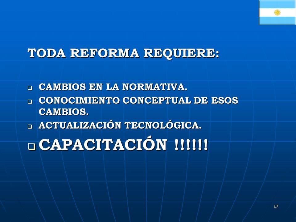 CAPACITACIÓN !!!!!! TODA REFORMA REQUIERE: CAMBIOS EN LA NORMATIVA.