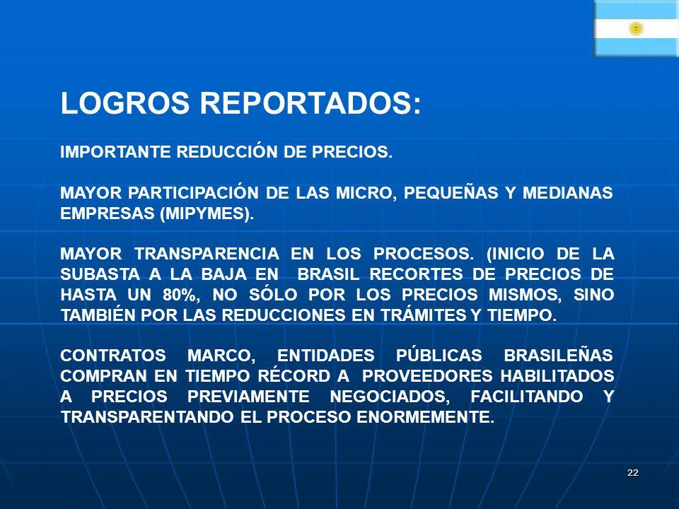 LOGROS REPORTADOS: IMPORTANTE REDUCCIÓN DE PRECIOS.