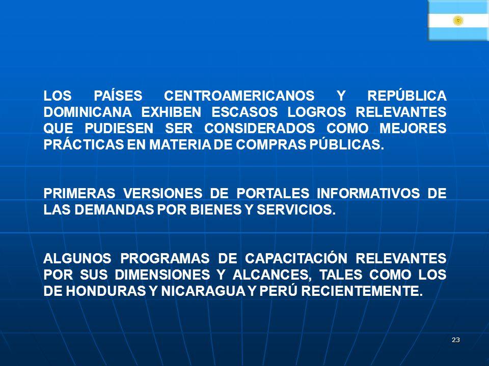 LOS PAÍSES CENTROAMERICANOS Y REPÚBLICA DOMINICANA EXHIBEN ESCASOS LOGROS RELEVANTES QUE PUDIESEN SER CONSIDERADOS COMO MEJORES PRÁCTICAS EN MATERIA DE COMPRAS PÚBLICAS.
