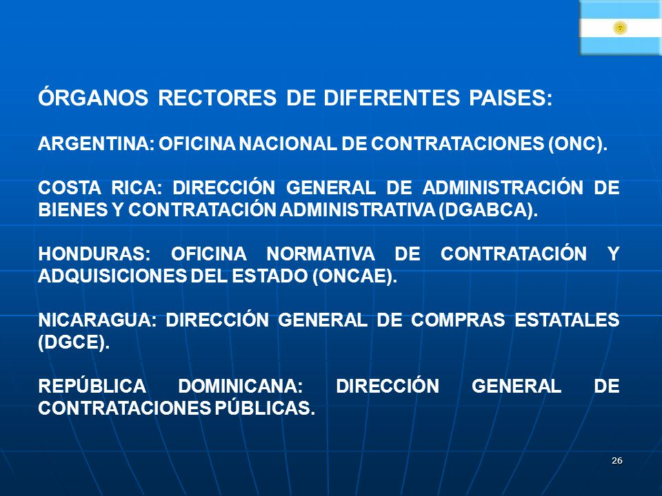 ÓRGANOS RECTORES DE DIFERENTES PAISES: