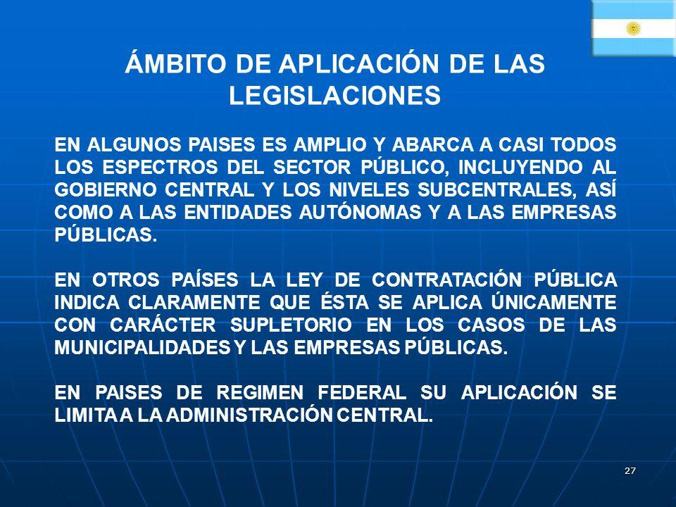 ÁMBITO DE APLICACIÓN DE LAS LEGISLACIONES