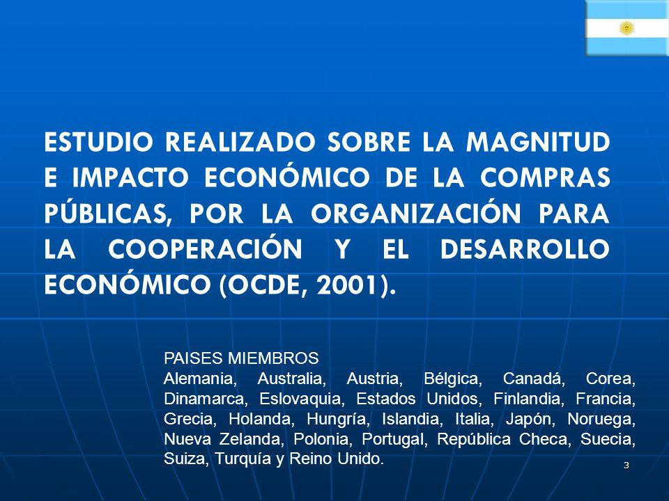 ESTUDIO REALIZADO SOBRE LA MAGNITUD E IMPACTO ECONÓMICO DE LA COMPRAS PÚBLICAS, POR LA ORGANIZACIÓN PARA LA COOPERACIÓN Y EL DESARROLLO ECONÓMICO (OCDE, 2001).