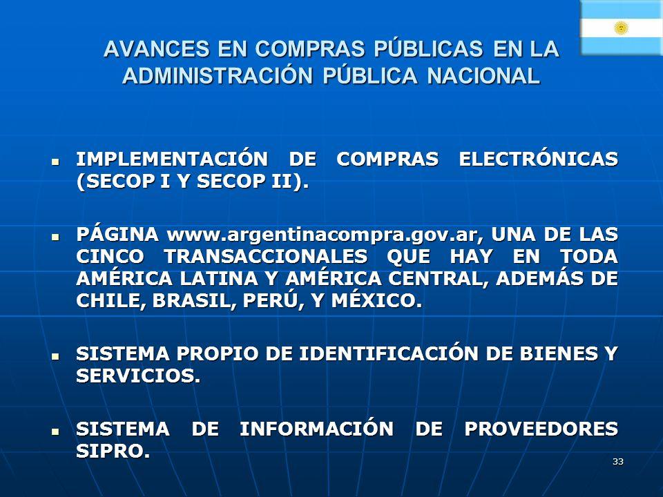 AVANCES EN COMPRAS PÚBLICAS EN LA ADMINISTRACIÓN PÚBLICA NACIONAL