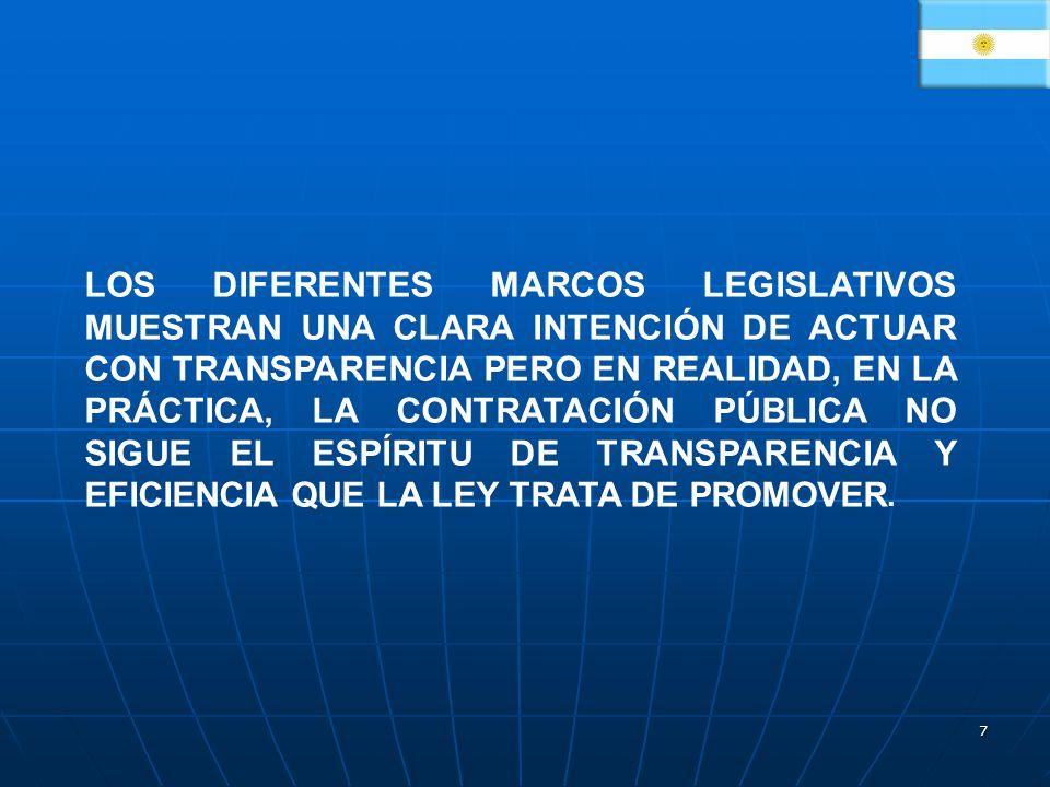 LOS DIFERENTES MARCOS LEGISLATIVOS MUESTRAN UNA CLARA INTENCIÓN DE ACTUAR CON TRANSPARENCIA PERO EN REALIDAD, EN LA PRÁCTICA, LA CONTRATACIÓN PÚBLICA NO SIGUE EL ESPÍRITU DE TRANSPARENCIA Y EFICIENCIA QUE LA LEY TRATA DE PROMOVER.