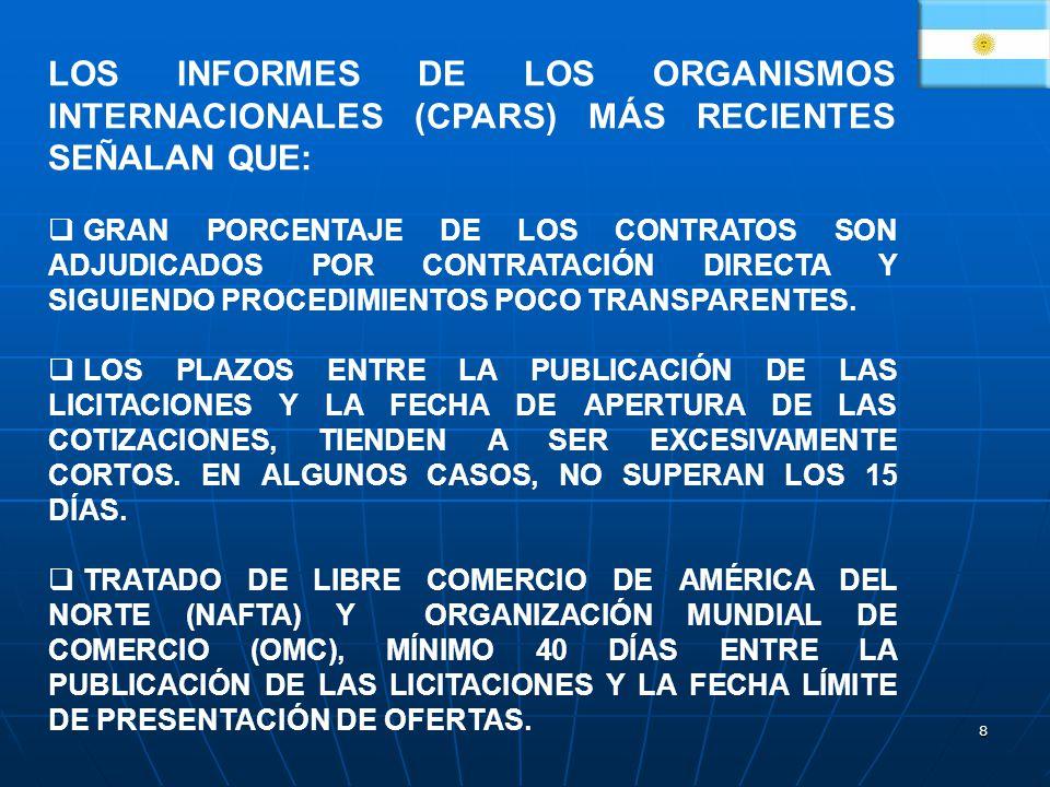 LOS INFORMES DE LOS ORGANISMOS INTERNACIONALES (CPARS) MÁS RECIENTES SEÑALAN QUE: