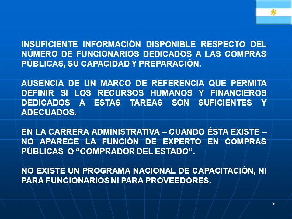 INSUFICIENTE INFORMACIÓN DISPONIBLE RESPECTO DEL NÚMERO DE FUNCIONARIOS DEDICADOS A LAS COMPRAS PÚBLICAS, SU CAPACIDAD Y PREPARACIÓN.