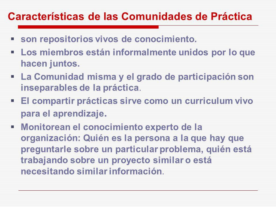 Características de las Comunidades de Práctica