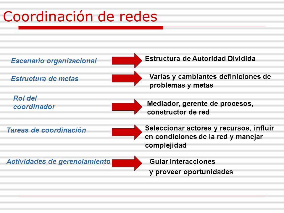 Coordinación de redes Estructura de Autoridad Dividida