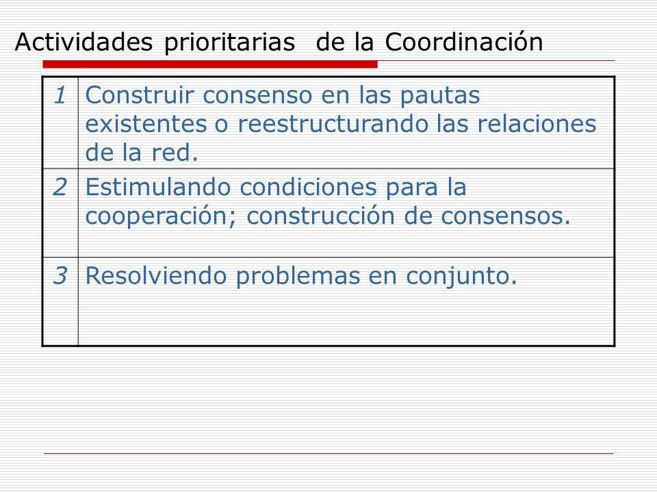 Actividades prioritarias de la Coordinación