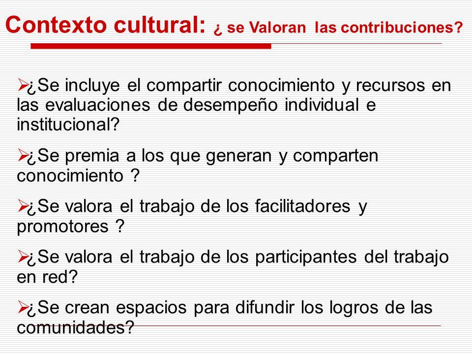 Contexto cultural: ¿ se Valoran las contribuciones