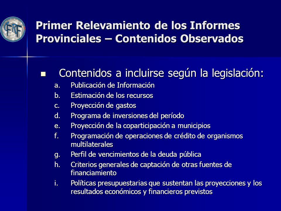 Contenidos a incluirse según la legislación: