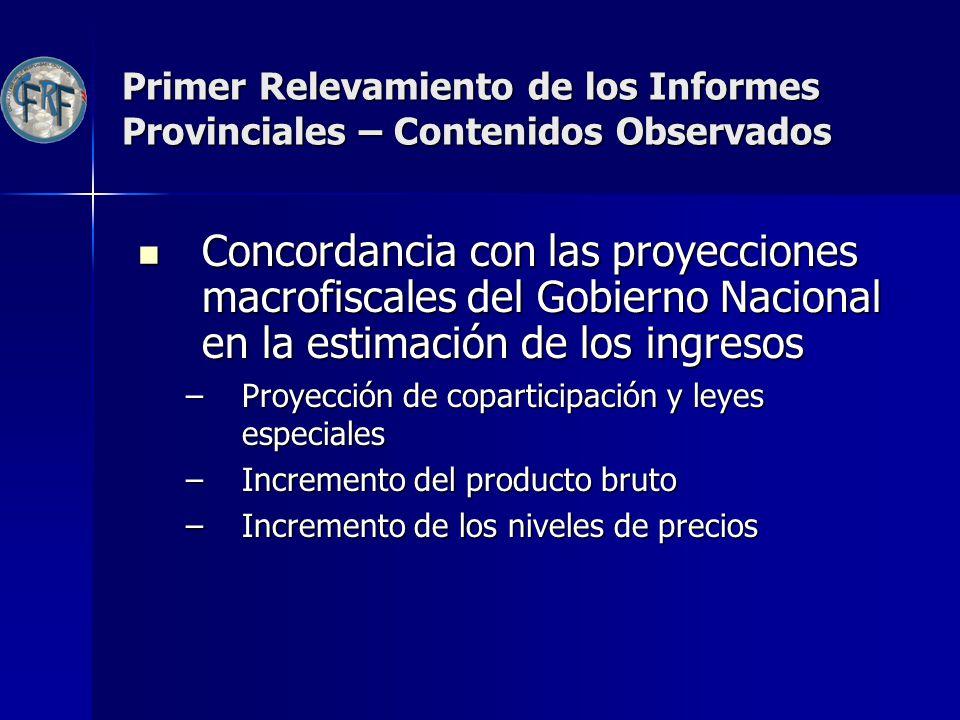 Primer Relevamiento de los Informes Provinciales – Contenidos Observados