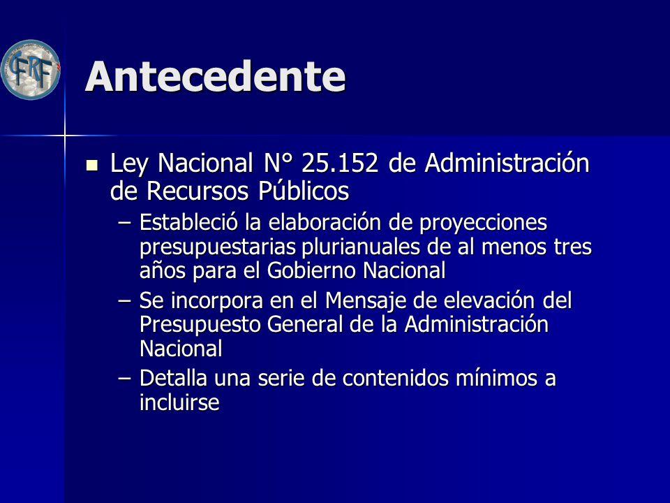 Antecedente Ley Nacional N° 25.152 de Administración de Recursos Públicos.