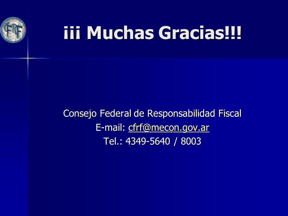 ¡¡¡ Muchas Gracias!!! Consejo Federal de Responsabilidad Fiscal