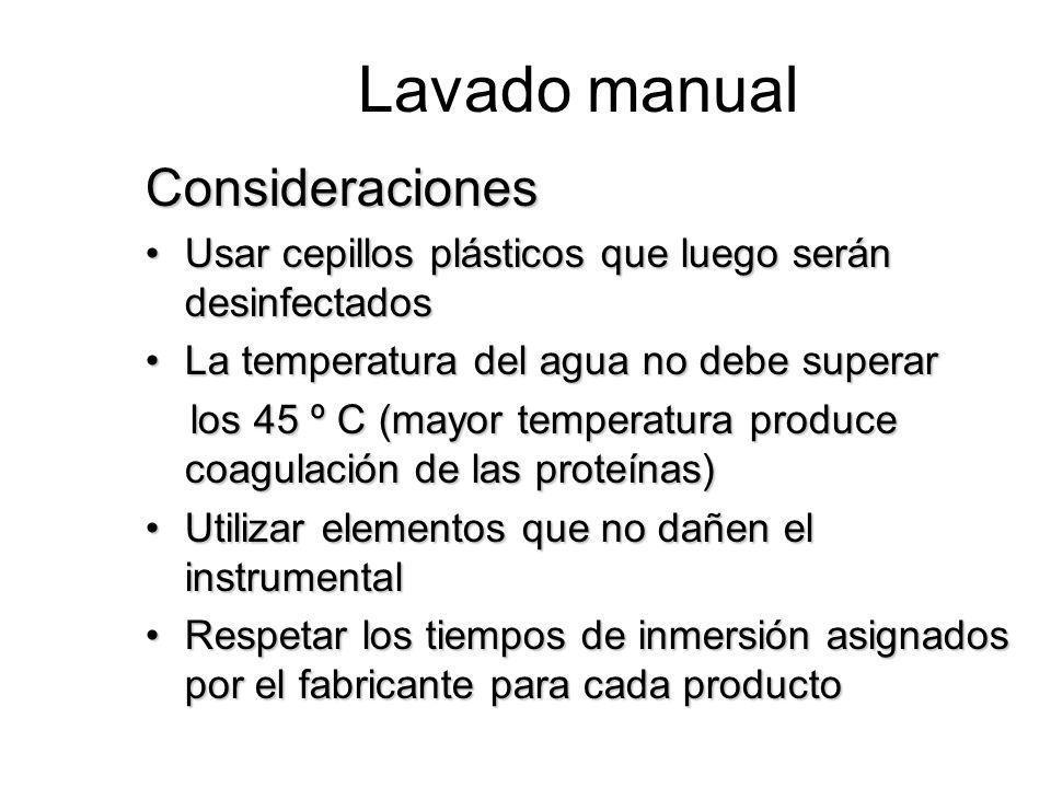 Lavado manual Consideraciones