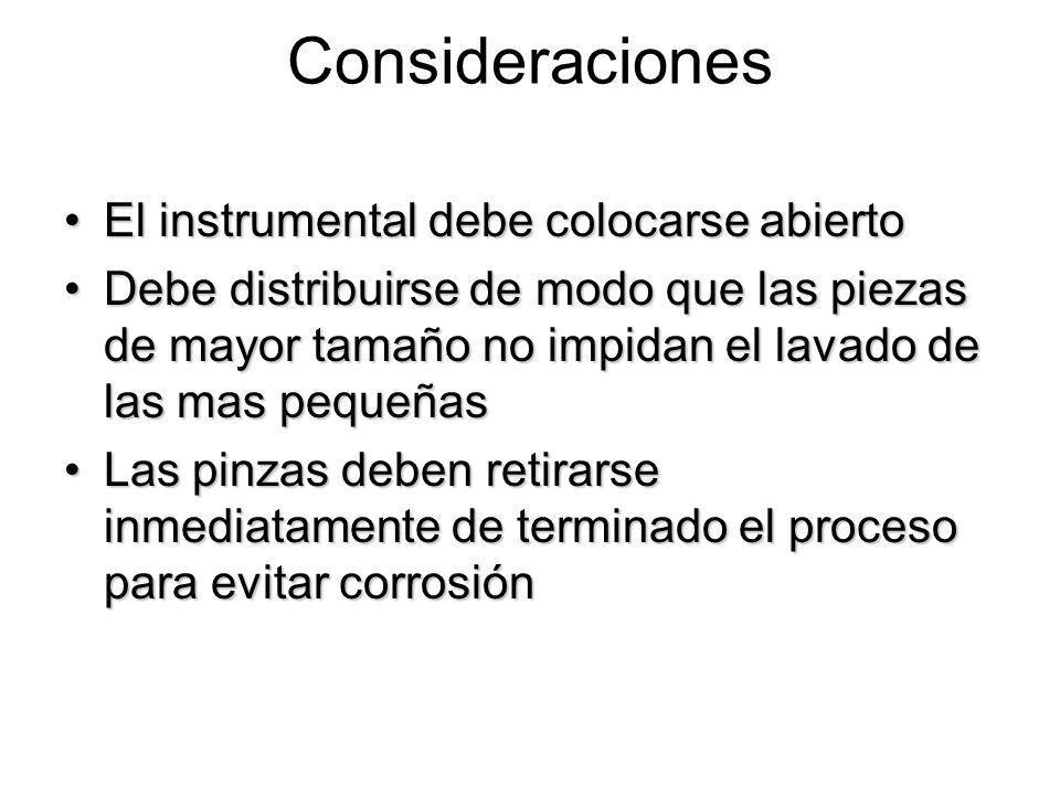 Consideraciones El instrumental debe colocarse abierto