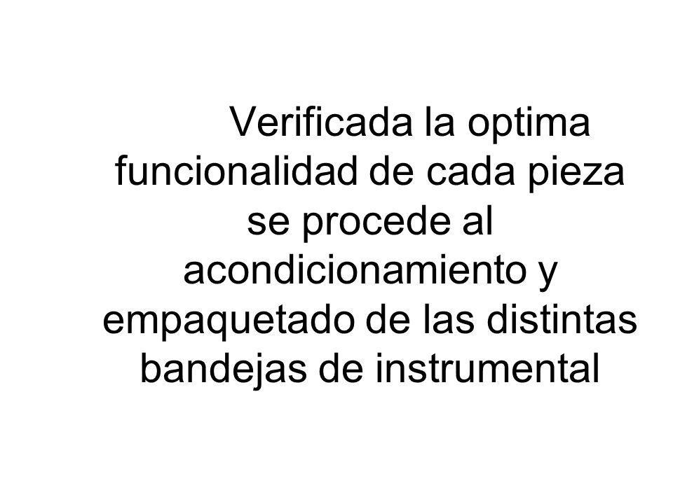 Verificada la optima funcionalidad de cada pieza se procede al acondicionamiento y empaquetado de las distintas bandejas de instrumental