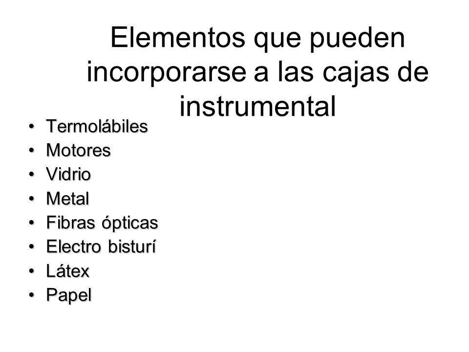 Elementos que pueden incorporarse a las cajas de instrumental