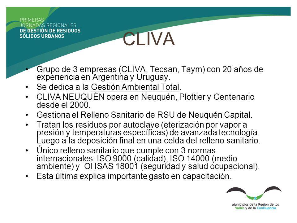 CLIVA Grupo de 3 empresas (CLIVA, Tecsan, Taym) con 20 años de experiencia en Argentina y Uruguay. Se dedica a la Gestión Ambiental Total.