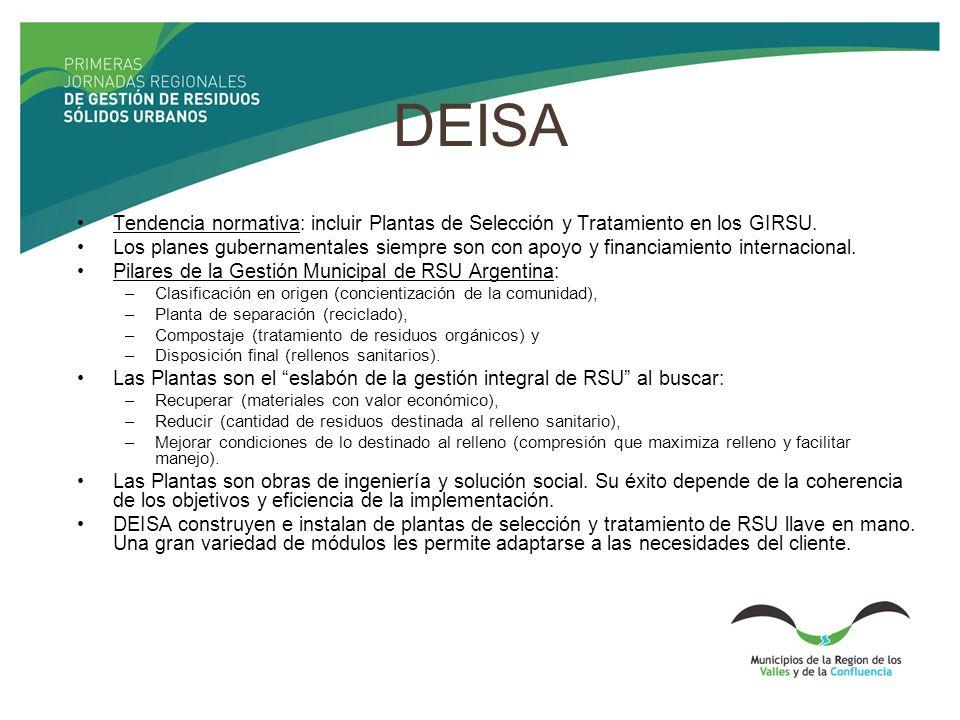 DEISA Tendencia normativa: incluir Plantas de Selección y Tratamiento en los GIRSU.