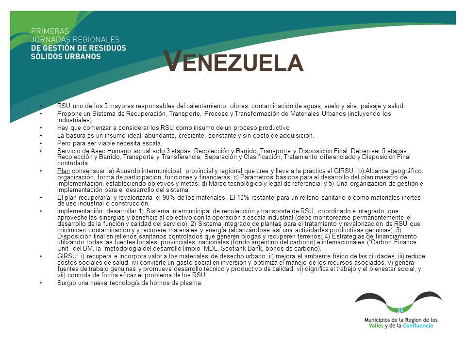 Venezuela RSU uno de los 5 mayores responsables del calentamiento, olores, contaminación de aguas, suelo y aire, paisaje y salud.